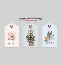 christmas greeting tag set gift present bauble vector image