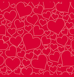 color red hearts chaotic seamless pattern vector image