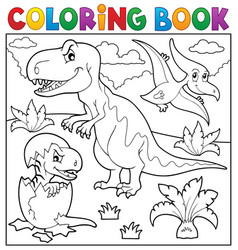 coloring book dinosaur topic 9 vector image