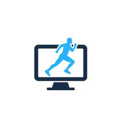 Computer run logo icon design vector