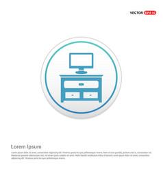 Computer table icon - white circle button vector
