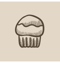 Cupcake sketch icon vector