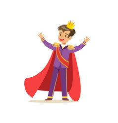Cute boy prince in a golden crown purple costume vector