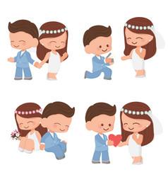 cute cartoon wedding couple in blue suit vector image