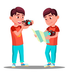 cute little boy take a photo with camera in his vector image