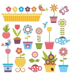 Cute spring colorful flowers in pots vector