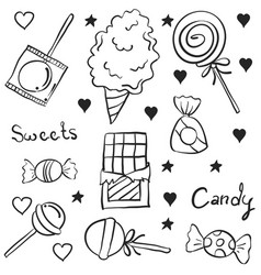 doodle candy hand draw various vector image