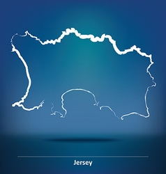 Doodle Map of Jersey vector image