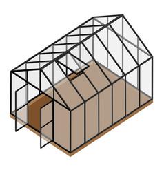 Empty greenhouse with opened door and window vector