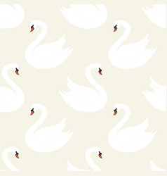 exquisite elegant white swans seamless pattern vector image