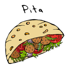 Falafel pita or meatball salad in pocket bread vector
