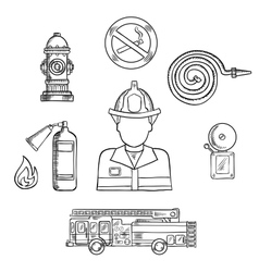 Firefighter with fire protection sketch symbols vector image