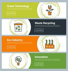 Flat Design Concept Set of Web Banners Green vector