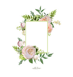 Floral design vertical card soft pink peach vector