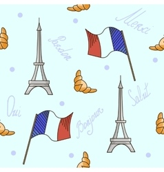 French symbols seamless pattern blue color vector image