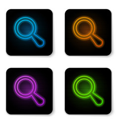 glowing neon magnifying glass icon isolated on vector image