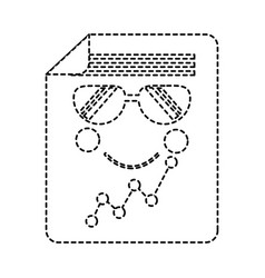 Graph chart wth sunglasses kawaii icon imag vector