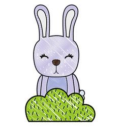 Grated rabbit wild animal in back of bursh plant vector