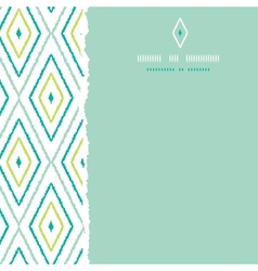 Green ikat diamonds square torn seamless patterns vector