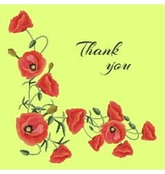 Greeting card with Poppies vector