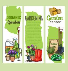 Hand drawn gardening banners vector