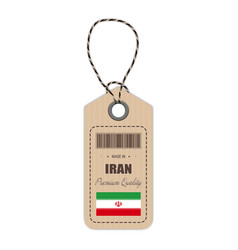 Hang tag made in iran with flag icon isolated on a vector