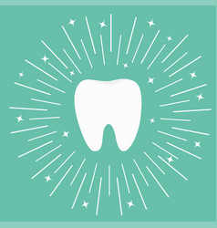 healthy white tooth icon round line circle vector image