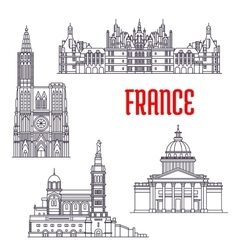Historic buildings and sightseeings of France vector