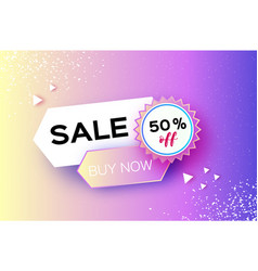 holographic sale banner in paper cut style vector image