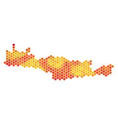 Hot hexagon crete island map vector