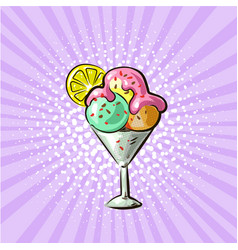 Ice cream in glass three flavours pop art hand vector