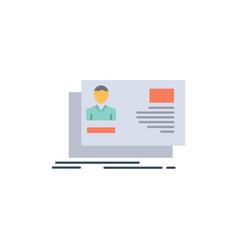 Id user identity card invitation flat color icon vector