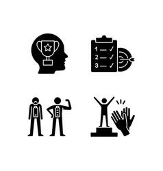 Intrinsic motivation black glyph icons set vector