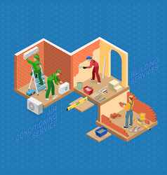 Isometric interior repairs concept flat 3d vector
