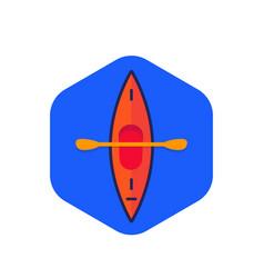 Kayak canoe icon flat vector