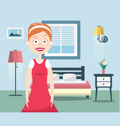 Lady of the house happy woman in bedroom interior vector