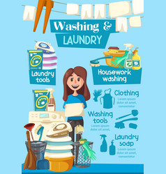 Laundry and washing home service poster vector