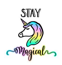 little unicorn cartoon drawing vector image