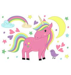 Magic unicorn and bird vector