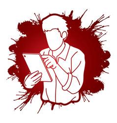 Man using digital tablet cartoon graphic vector