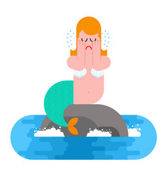mermaid sits on rock and crying mythical sad vector image