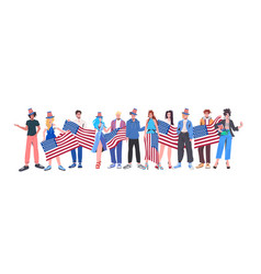 mix race people in festive hats holding usa flags vector image