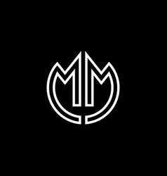 mm monogram logo circle ribbon style outline vector image