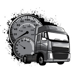 Monochromatic cartoon semi truck vector