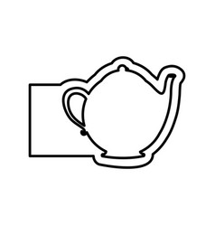 Monochrome contour with teapot of tea and banner vector