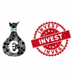 Mosaic invest with grunge invest stamp vector
