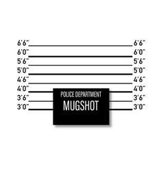 Mugshot police mockup isolated white background vector