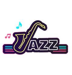 neon jazz saxophone white background image vector image