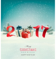 New Year background with a 2017 and gift boxes vector image