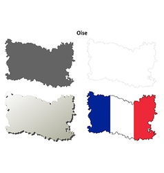 Oise Picardy outline map set vector